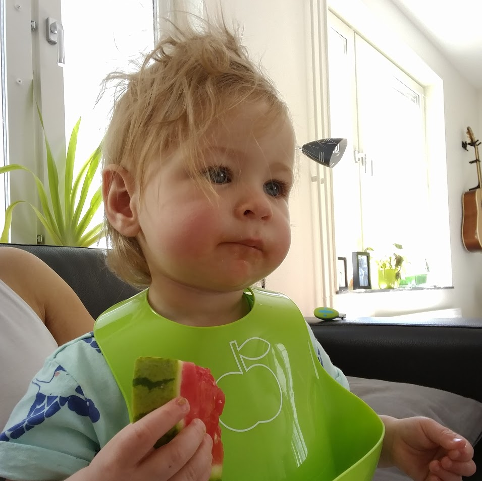 Här är ett barn som ärvt sin mors känsla för hårstyling. Eller rättare sagt: Har man varit hemma för länge med mamma ser det ut såhär. För mamma orkar inte bråka om håruppsättning och borstning.